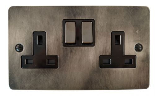 G&H FSL310 Flat Plate Slate 2 Gang Double 13A Switched Plug Socket